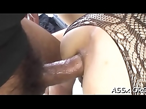 Cute oriental sweetheart experiences curious anal fucking