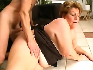 Saggy granny despoil by mean young dude absent from