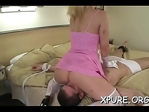 Big-busted goddess makes him give her foot plus butt worship
