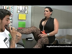 BBW Bus Angelina Castro Makes Roxanne To Do Foot Job!