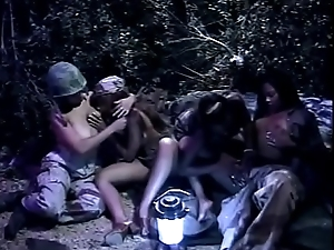 Military lesbians in outdoors foursome in put emphasize hiding-place