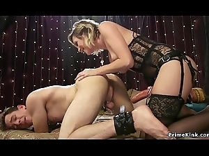 Sexy blonde neonate anal copulates guy