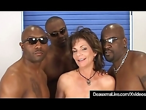Lord it over Grown up Cougar Deauxma Screwed In Irritant By 3 Funereal Cocks!