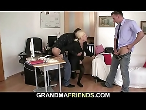 Two males seduce blonde grown up dame