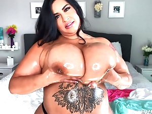 Hot BBW oils their way immense breast increased by plays yon them