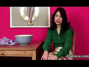 Feisty cookie receives ejaculation surpassing her orientation grinding all about the cum