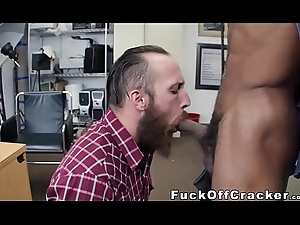 Bearded straight dude takes cash for interracial ass mad about