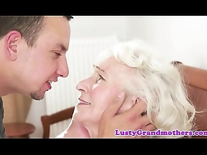 Bigtits granny can't live without gagging atop obese cock